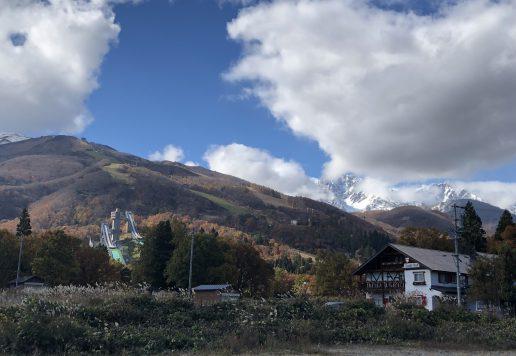 白馬村の秋 八方尾根スキー場とジャンプ競技場